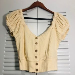 Free People brighter days button front tee Beige S